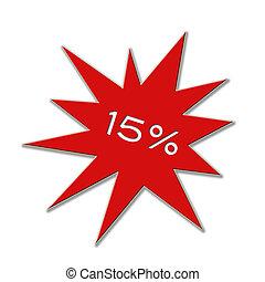 15, cartellino del prezzo, percento