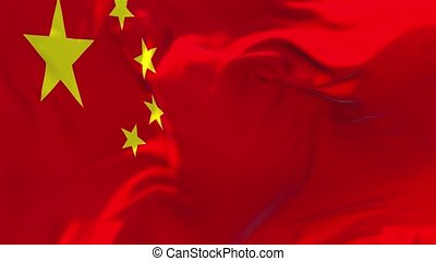 15. China Flag Waving in Wind Continuous Seamless Loop Background.