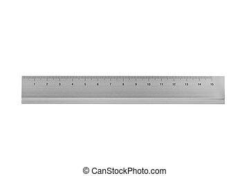 ruler isolated on white - 15 cm aluminium ruler isolated on...