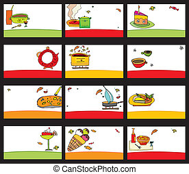 15 colorful food cards - vector set
