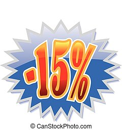 15% discount label - Blue discount label with red -15%....