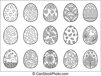 15 easter eggs coloring page
