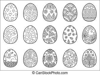15, eitjes, kleuren, pasen, pagina