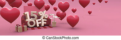 15 Fifteen percent off - Valentines Day Sale horizontal 3D-banner with copy space.