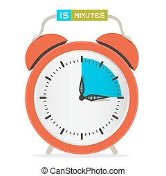 15, illustration, horloge, -, minutes, quinze, vecteur, montre, arrêt, reveil