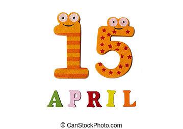 15, letters., avril, nombres, fond, blanc