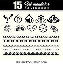 15 mandalas monochrome boho style set