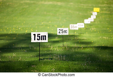 Signs to tell how far you hit, focus in front
