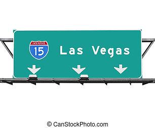 15, motorväg, till, las vegas, underteckna, isolated.