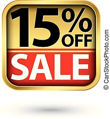 15% off sale golden label with red ribbon, vector illustration