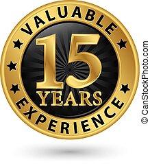 15, or, expérience, années, vecteur, étiquette, illustration, valable