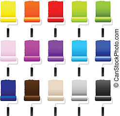 15 Paint Rollers, Isolated On White Background, Vector Illustration