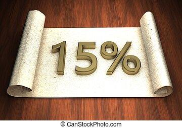 15 per cent, golden numbers, over open paper, 3d rendering