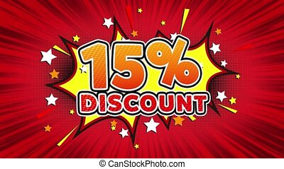 15% Percent Discount Text Pop Art Style Comic Expression. - ...