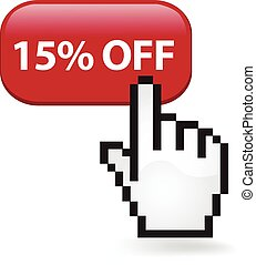 15 Percent Off Button - Fifteen percent off button with a...
