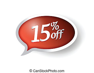 15 percent off message bubble illustration