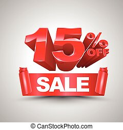 15 percent off sale red ribbon banner roll 3D style.