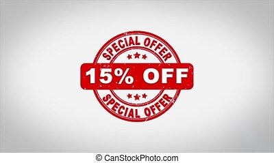 15% Percent Off Special Offer Signed Stamping Text Wooden Stamp Animation. Red Ink on Clean White Paper Surface Background with Green matte Background Included.