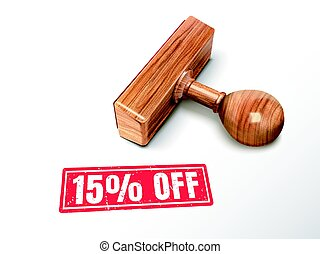 15 percent off text and stamp