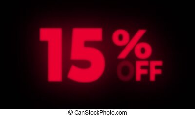 15 Percent Off Text Blinking Flickering Neon Red Sign Promotional Loop Background. Sale, Discounts, Deals, Special Offers. Green Screen and Alpha Matte