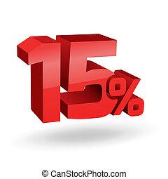 15, percento, illustrazione