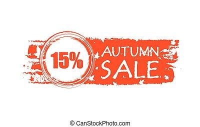15, percentuali, vendita, autunno, v, bandiera