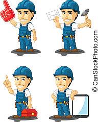 15, réparateur, mascotte, technicien, ou