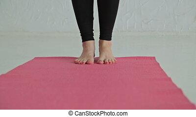 15 shots. Sporty man and woman doing ashtanga yoga