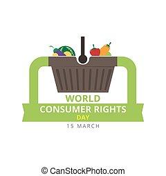 15, stock., rättigheten, march., vektor, värld, logo, konsument, dag, design.
