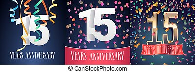 15 years anniversary celebration set of vector icons, logo....