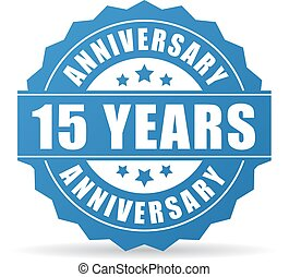15 years anniversary celebration vector icon on white...