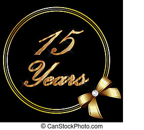 15 Years anniversary gold and ribbo