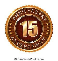 15 years anniversary golden brown label.