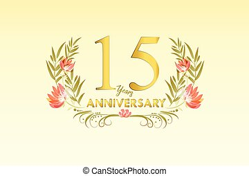 15 Years anniversary golden watercolor wreath