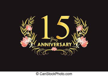 15 Years anniversary golden watercolor wreath illustration