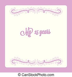 15 years anniversary invitation card swirl floral decoration vector