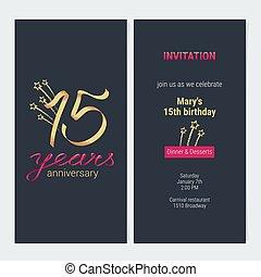 15 years anniversary invitation card vector - 15 years...