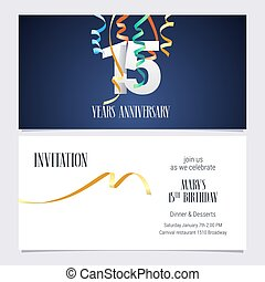 15 years anniversary invitation vector - 15 years...
