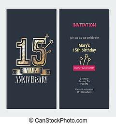 15 years anniversary invitation vector - 15 years...