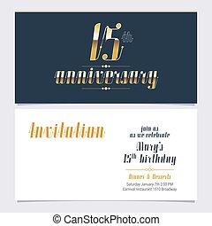 15 years anniversary invitation vector illustration. Design...