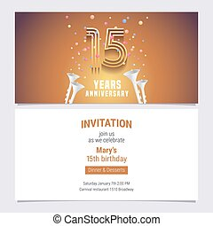 15 years anniversary invitation vector illustration. Graphic...