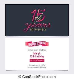 15 years anniversary invite vector illustration. Graphic...