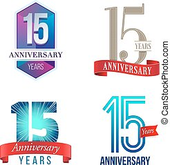 15 Years Anniversary Logo - A Set of Symbols Representing a...