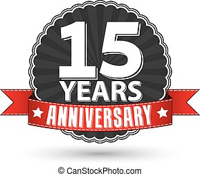 15 years anniversary retro label with red ribbon, vector...