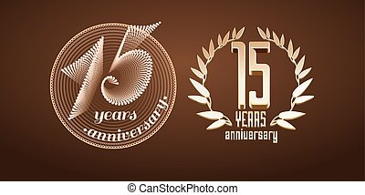 15 years anniversary set of vector logo, icon, number