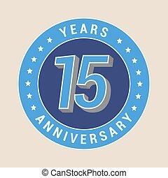 15 years anniversary vector icon, emblem. Design element...