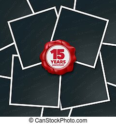 15 years anniversary vector icon, logo. Design element,...