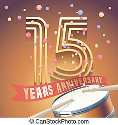 15 years anniversary vector icon, logo. Design element with...