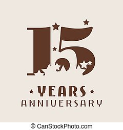 15 years anniversary vector icon, logo. Graphic design...