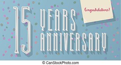 15 years anniversary vector icon, logo. Graphic horizontal...